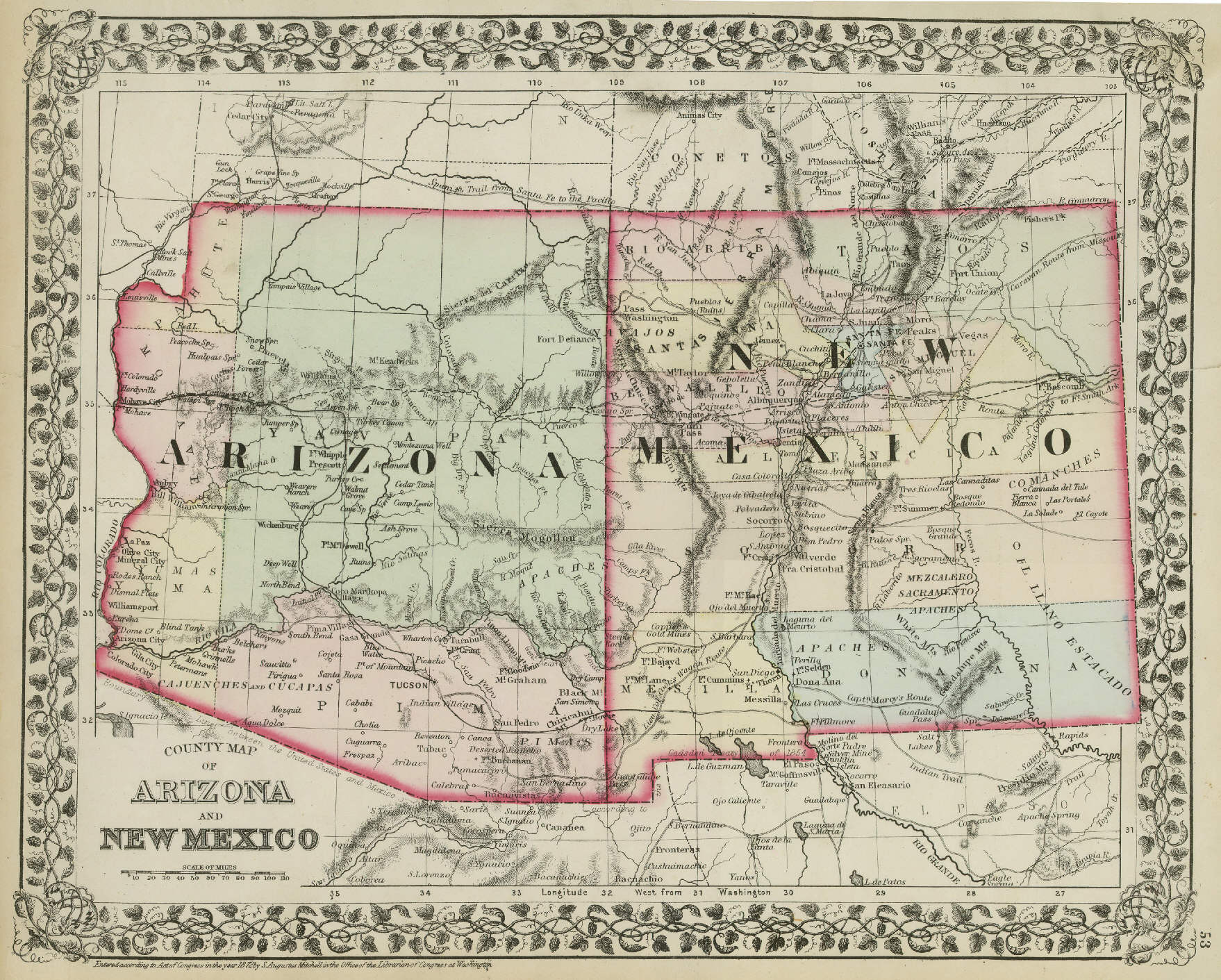 Map Of Arizona And New Mexico Mexico Map - Map of arizona and new mexico