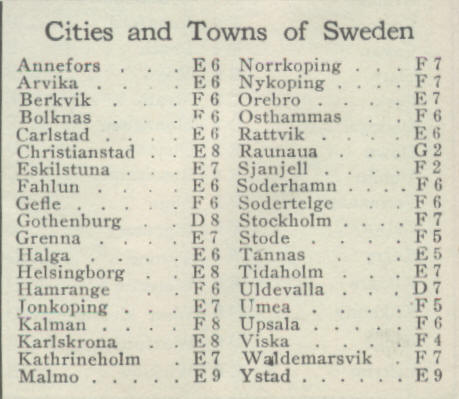 Norway And Sweden The New World Atlas And Gazetteer Edition - Sweden map towns