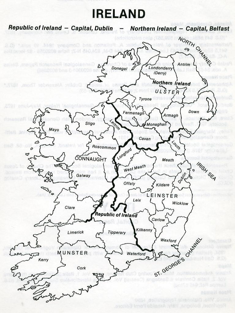 Map Of Ireland Black And White.Irish Genealogy Research