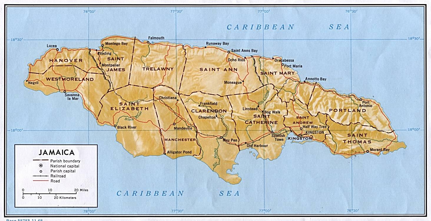 Map 1 of Jamaica, West Indies