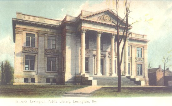 postcard, carnegie library, lexington, ky