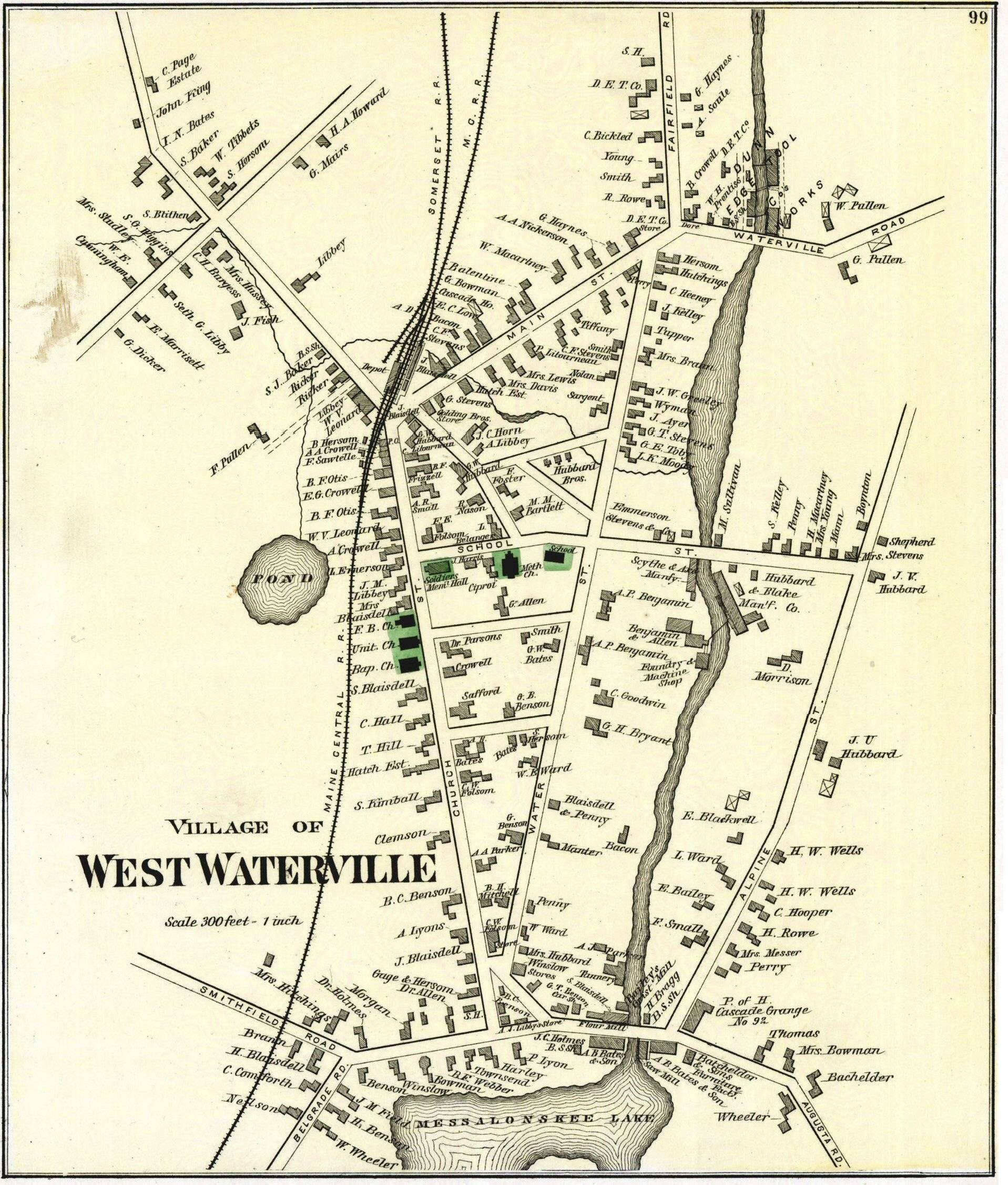 map of waterville maine Historical Maps Of Oakland map of waterville maine