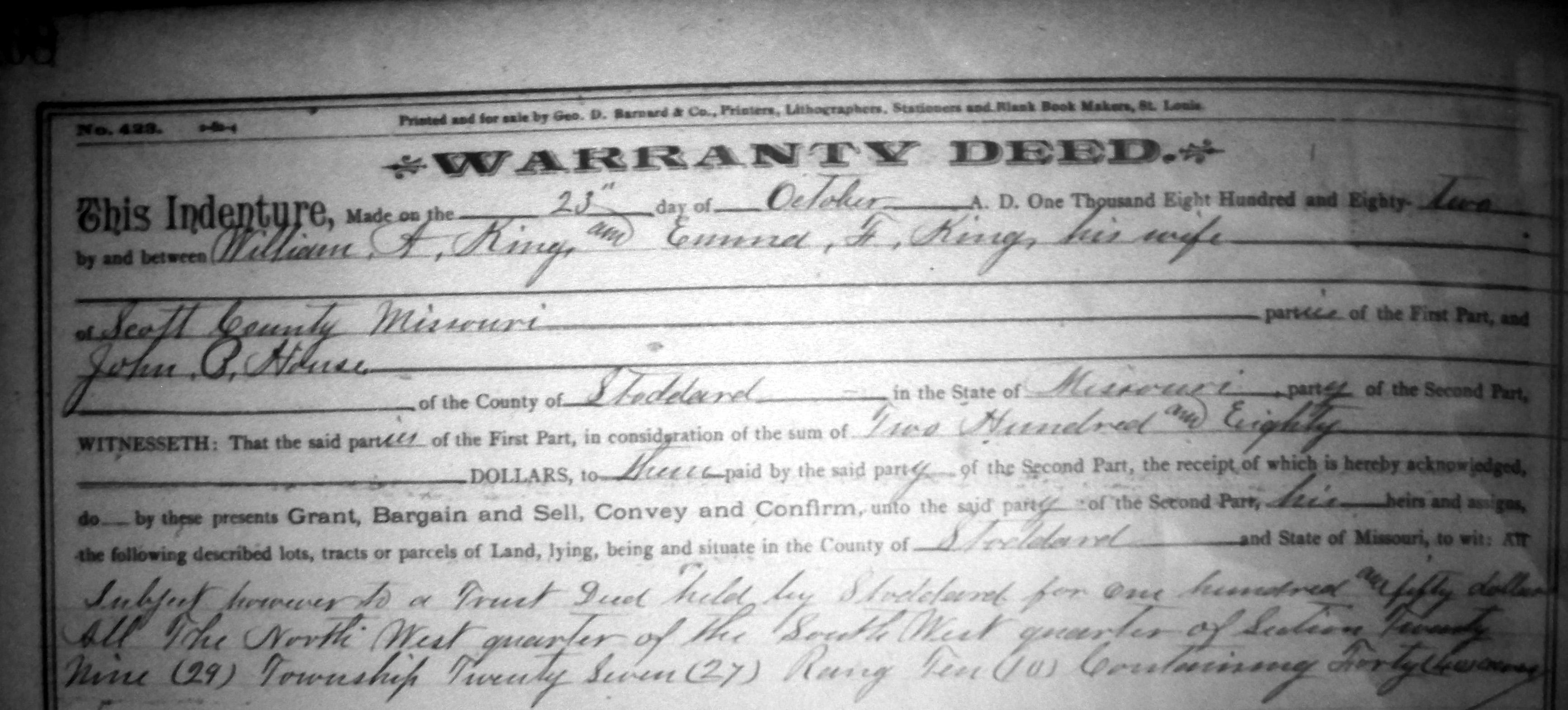 Warranty Deeds- Stoddard Co. MOGenWeb