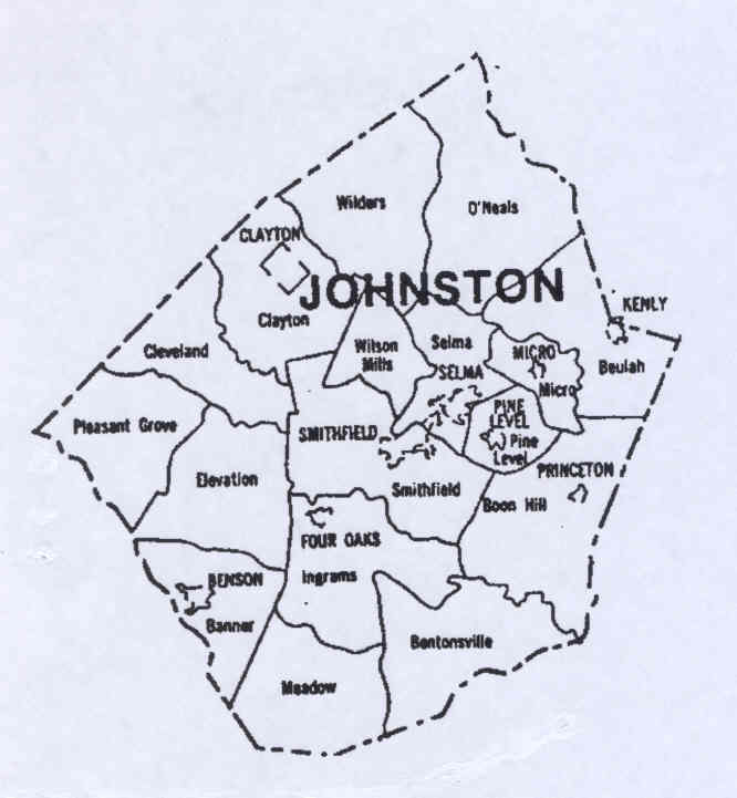 Johnston County - County map of north carolina