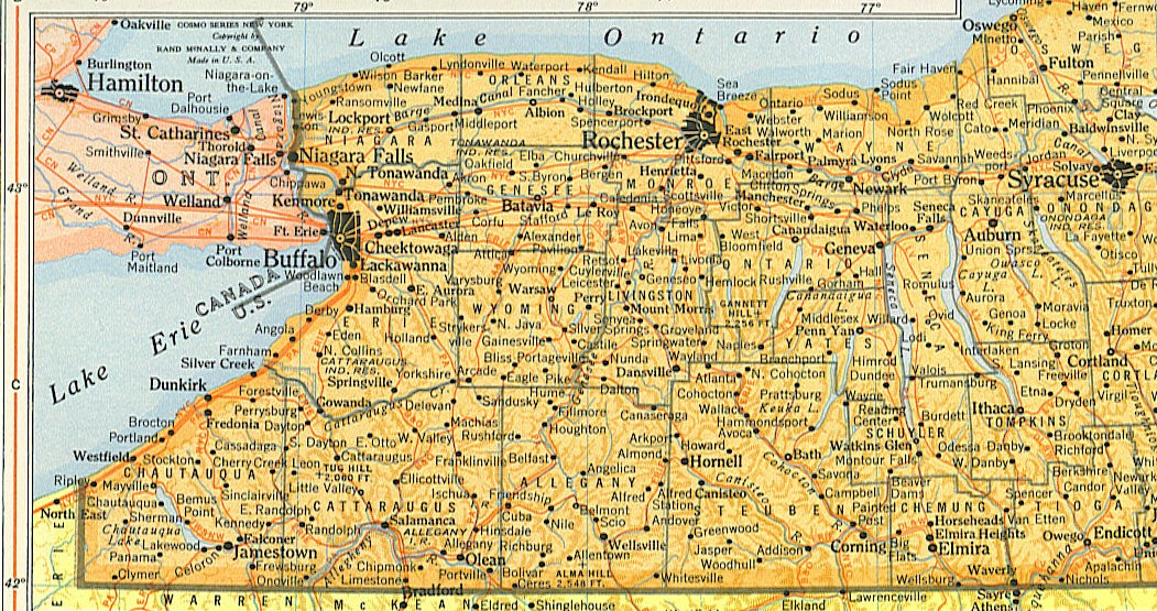 Western New York State Map.1950 Western Ny