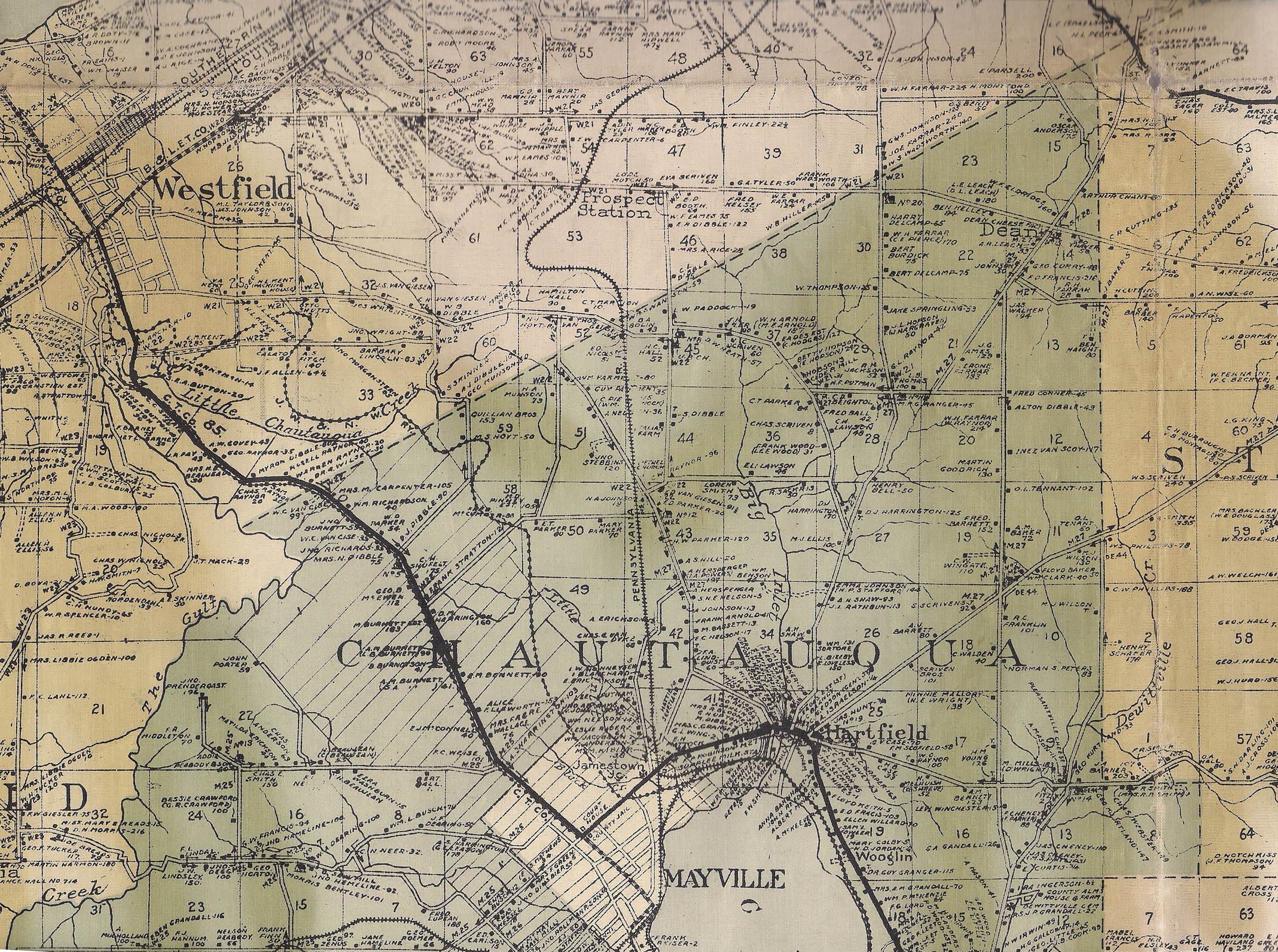 1916 Wall Map of Chautauqua County, NY Chautauqua County Map on