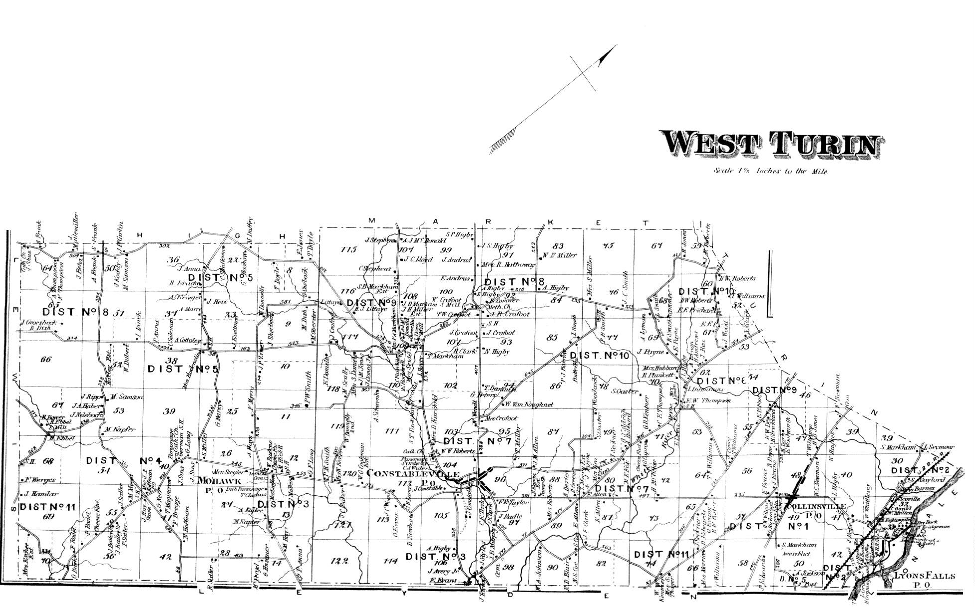 D.G. Beers 1875 Atlas of Lewis County, NYwest turin town