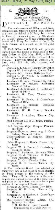 South Canterbury Mounted Rifles - N Z