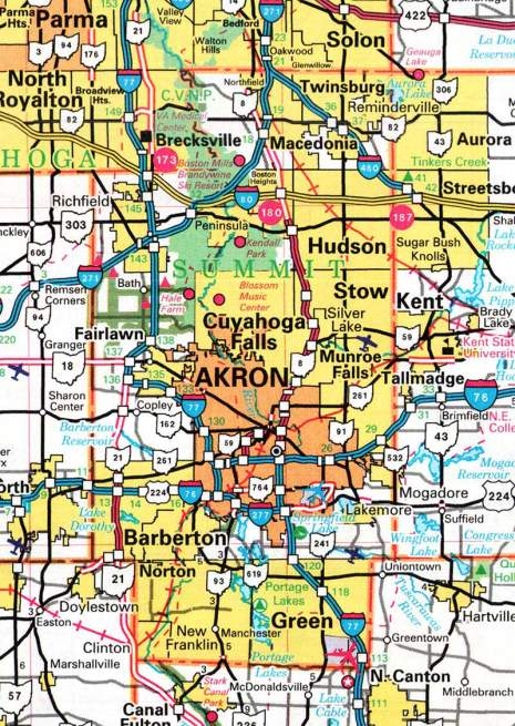 Summit County OHGenWeb Project   Map of Akron and surrounding towns.