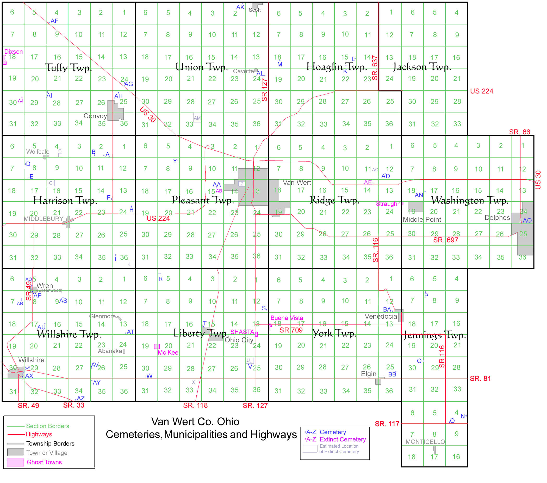 Van Wert County Ohio Cemeteries Map
