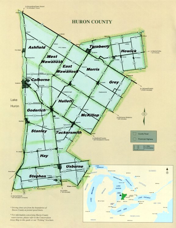 Maps Ontario Counties Huron County Townships Map