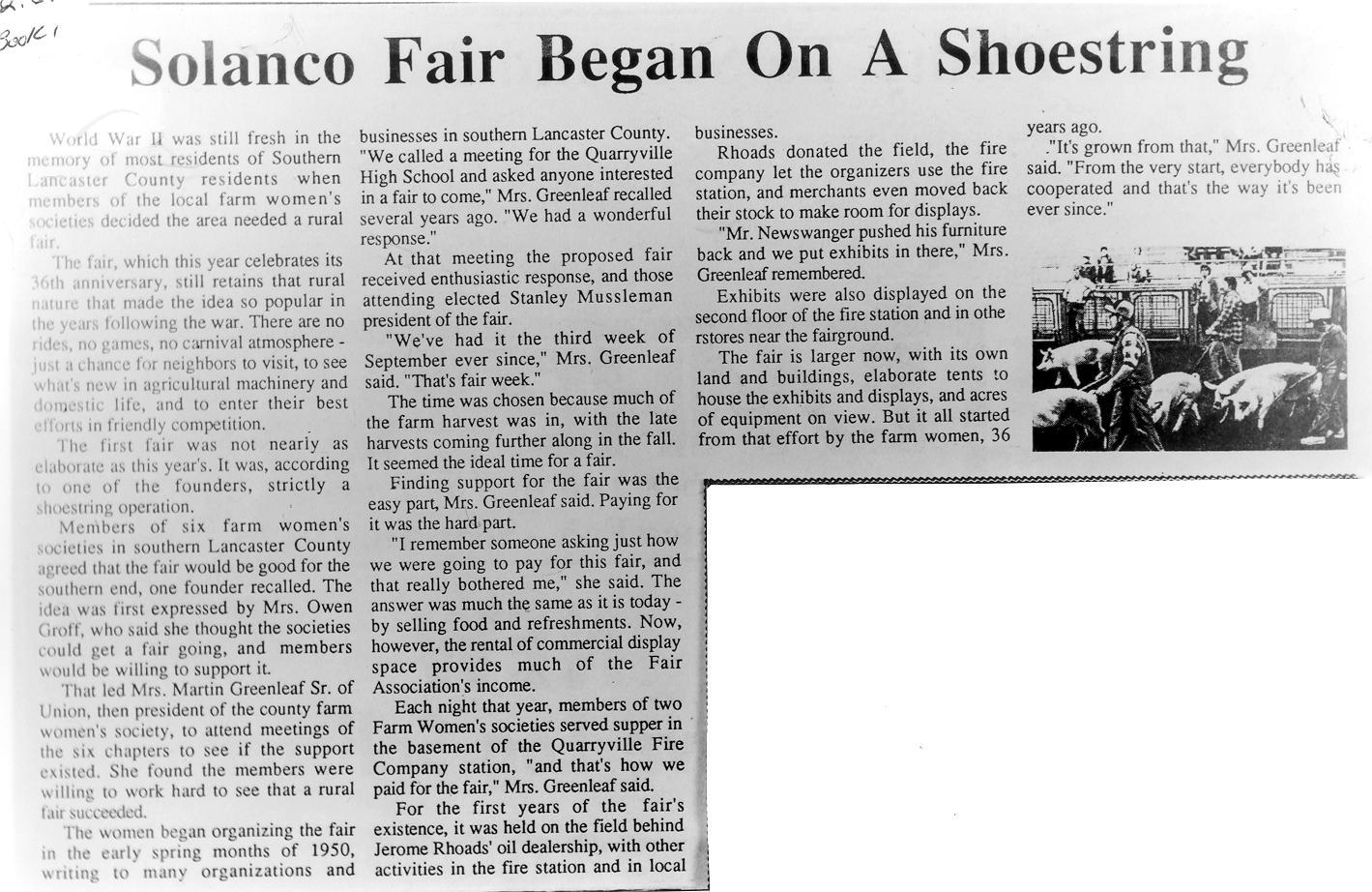 Solanco Fair, Quarryville, Newspaper Article - History ...
