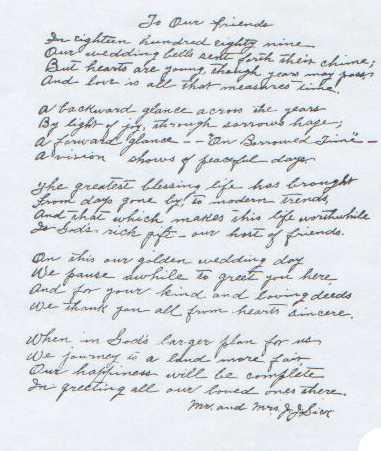 Poem written by Mrs. Julius Sick 50th wedding anniversary.
