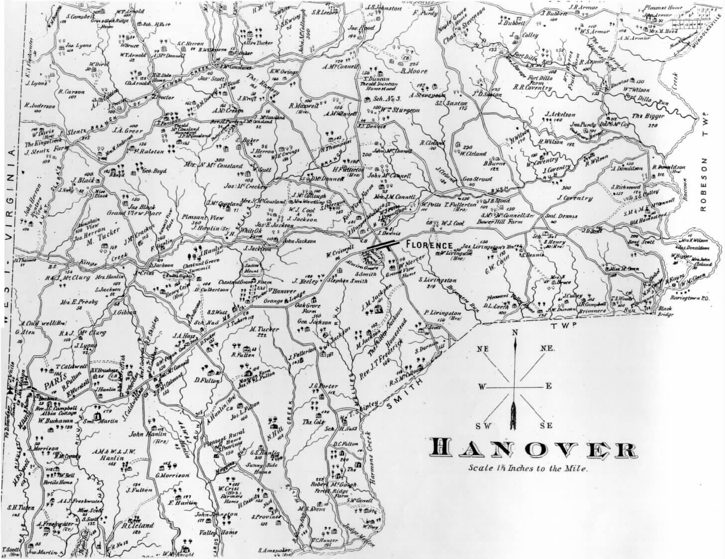Washington County Genealogy Pagenweb Project Map Hanover Twp