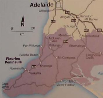 Fleurieu Peninsula Map c 1970's
