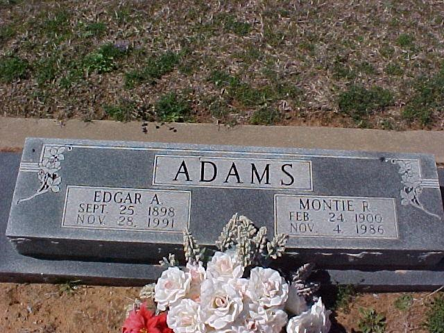 Tombstone of Edgar A. and Montie R. Adams
