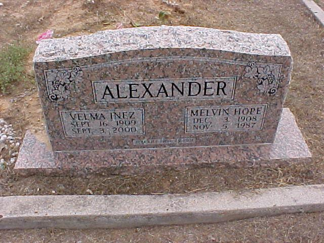Tombstone of Melvin and Velma Alexander