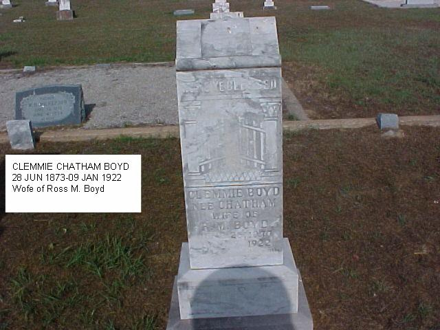 Tombstone of Clemmie Chatham Boyd