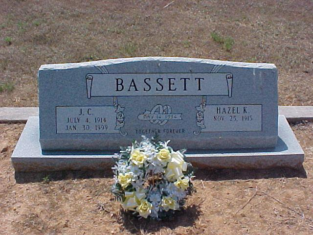 Tombstone of J.C. and Hazel K. Bassett