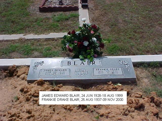 Tombstone of James Edward and Frankie Drake Blair