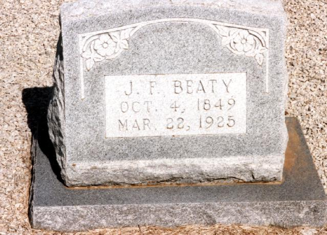 Tombstone of J. F. Beaty