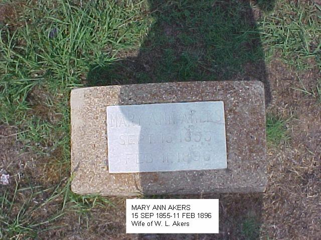 Tombstone of Mary Ann Akers