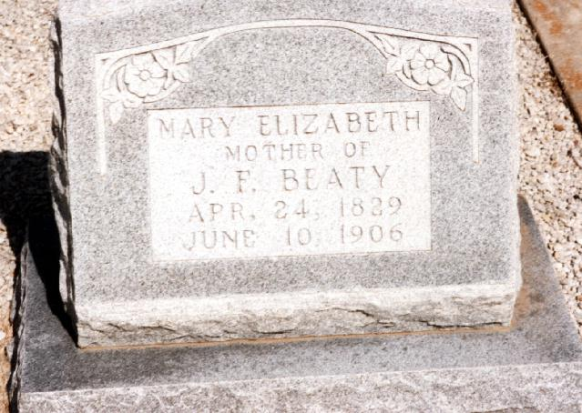 Tombstone of Mary Elizabeth Beaty