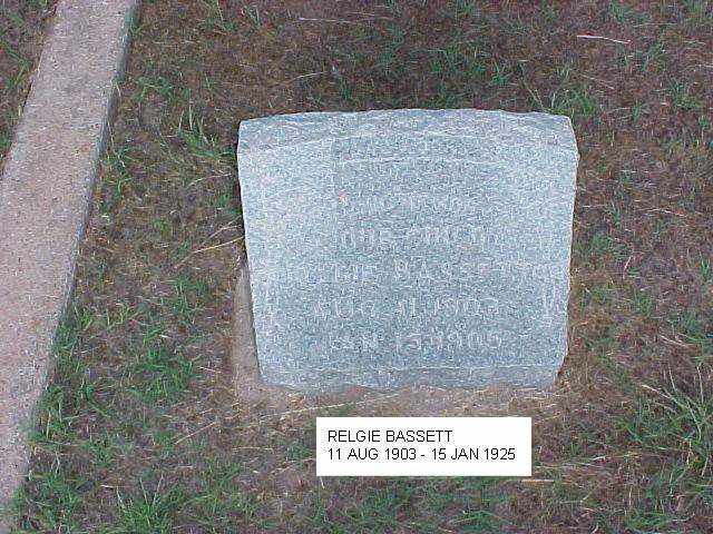 Tombstone of Relgie Bassett