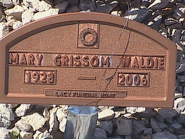 Tombstone of Mary Grissom Waldie