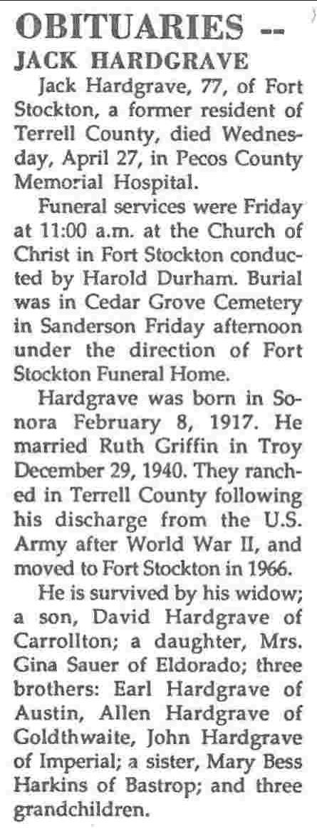 Terrell County Txgenweb Obituaries