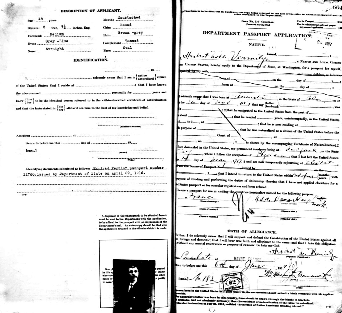 Vermilyea Genealogy Eighth Generation Lionel 2353 Horn Schematic Diagram Herbert Noble Vermilye Applied For A