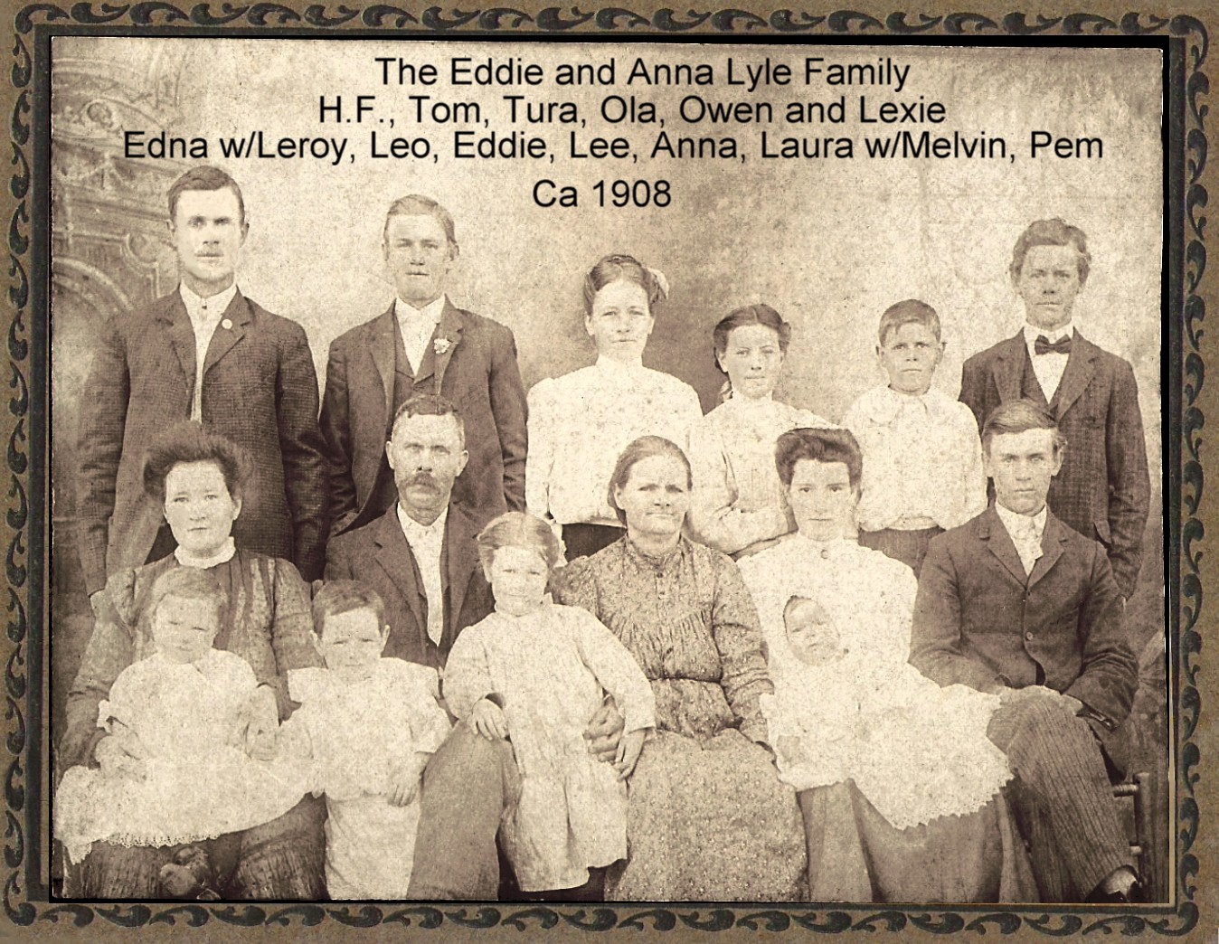 My Great-Great Grandparents, Edward Wesley Lyle and Anna Levisa GRANTLAND Lyle (ca1908--The man and woman to far left are my great grandparents, Harry Floyd Lyle and Dora Edna BREEDING Lyle).....