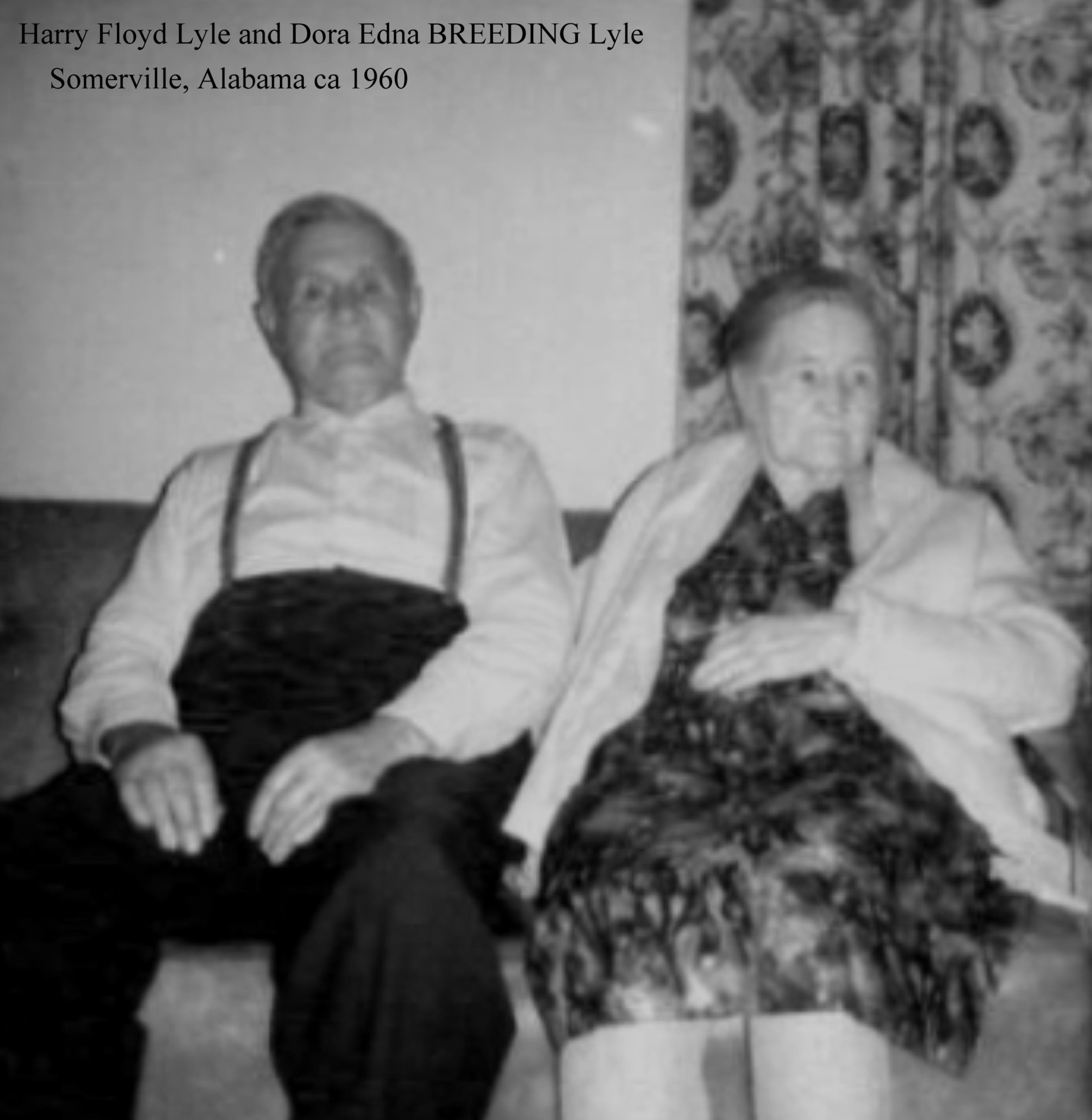 GranDad and Granny Lyle, My Great Grandparents, Harry Floyd Lyle and Dora Edna BREEDING Lyle (1960).....