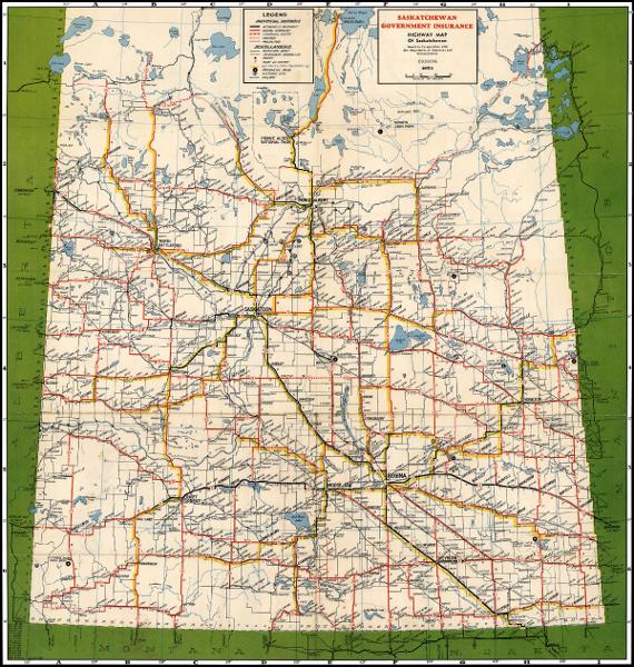 Map Of Canada Highways.1954 Saskatchewan Government Insurance Map Online Historical Map