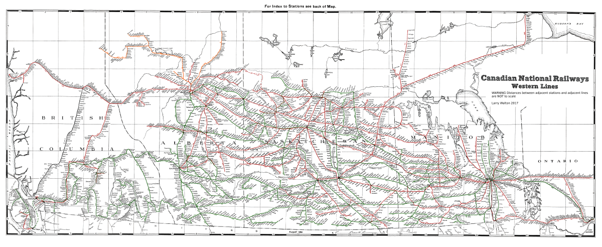 Larry Walton Railway Map showing Canadian National Railways