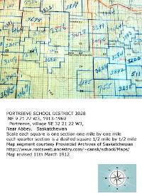 Portreeve School District 3028 1913-1969,  NE 9 21 22 ,  Portreeve village SE 32 21 22 W3, Near Abbey