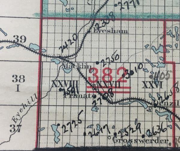 Twynholm School District 3010, NE 23-28-27-W3, Primate, Rm Eye Hill 382, 1913-1960,