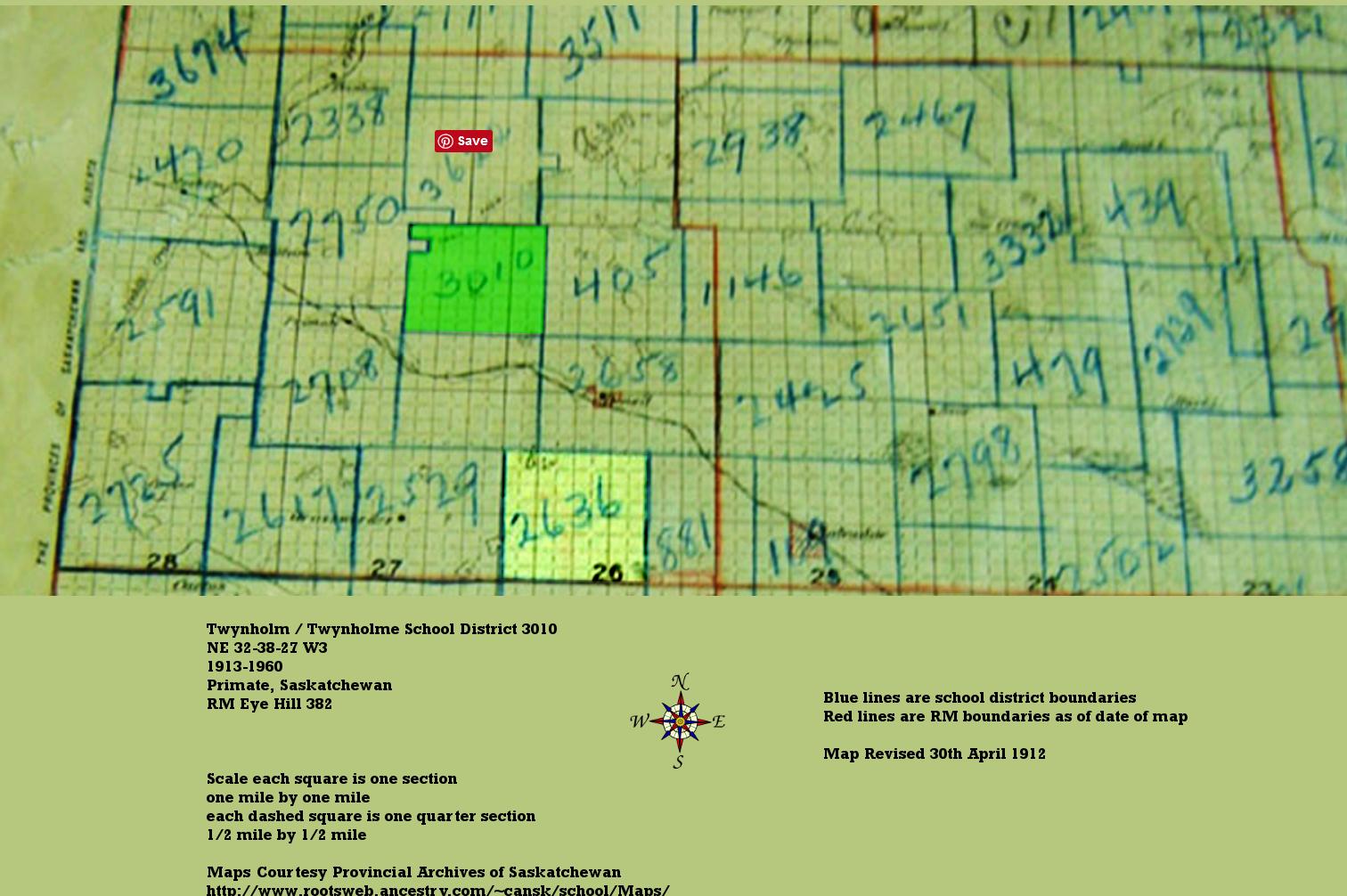 District 3010, NE 23-28-27-W3, Primate, Rm Eye Hill 382, 1913-1960,