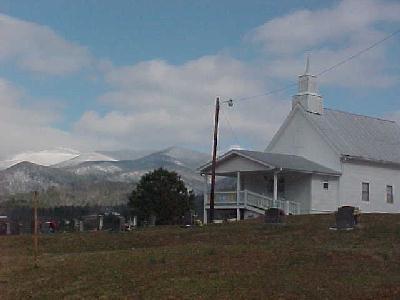 Brasstown Bald behind New liberty Church