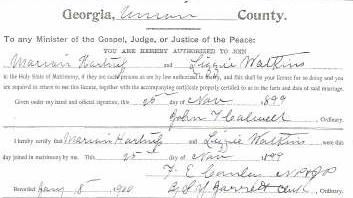 Marriage Certificate of Marion Hartness and Lizzie Watkins