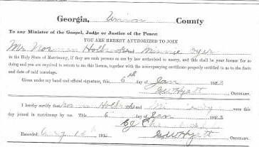Marriage Certificate of Norman Holbrooks and Minnie Dyer