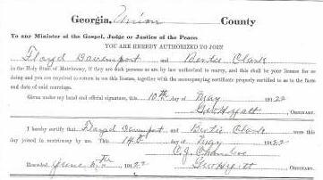Marriage Certificate of Floyd Davenport and Bertie Clark