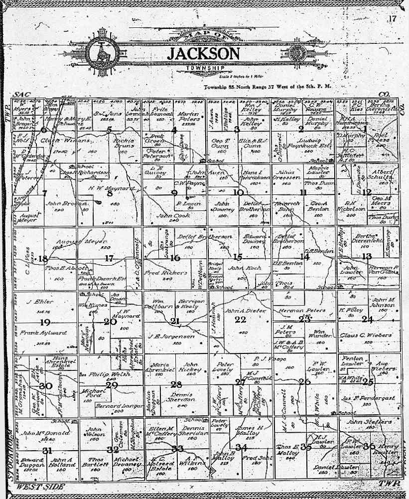 Jackson County Iowa Map.1908 Jackson Township Crawford County Iowa