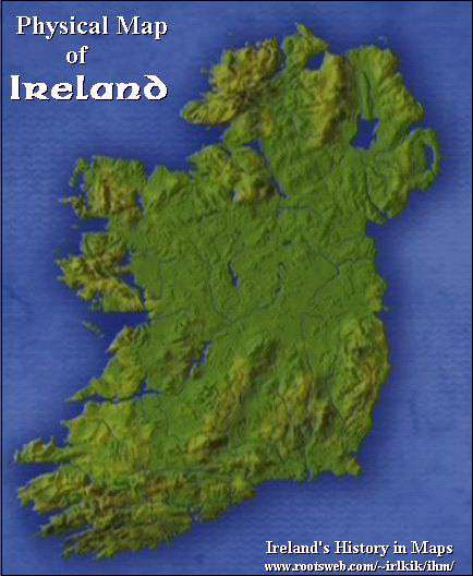 Physical Map Of Ireland.Early Irish History And Saga People Place And Province