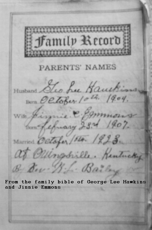 Page from the Bibleof George Lee hawkins and Jinnie Emmons