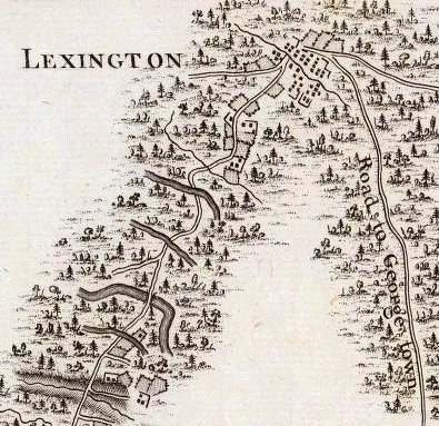 Lexington detail from 1796 map