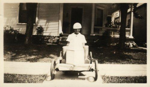 photo: african american boy in wooden racer