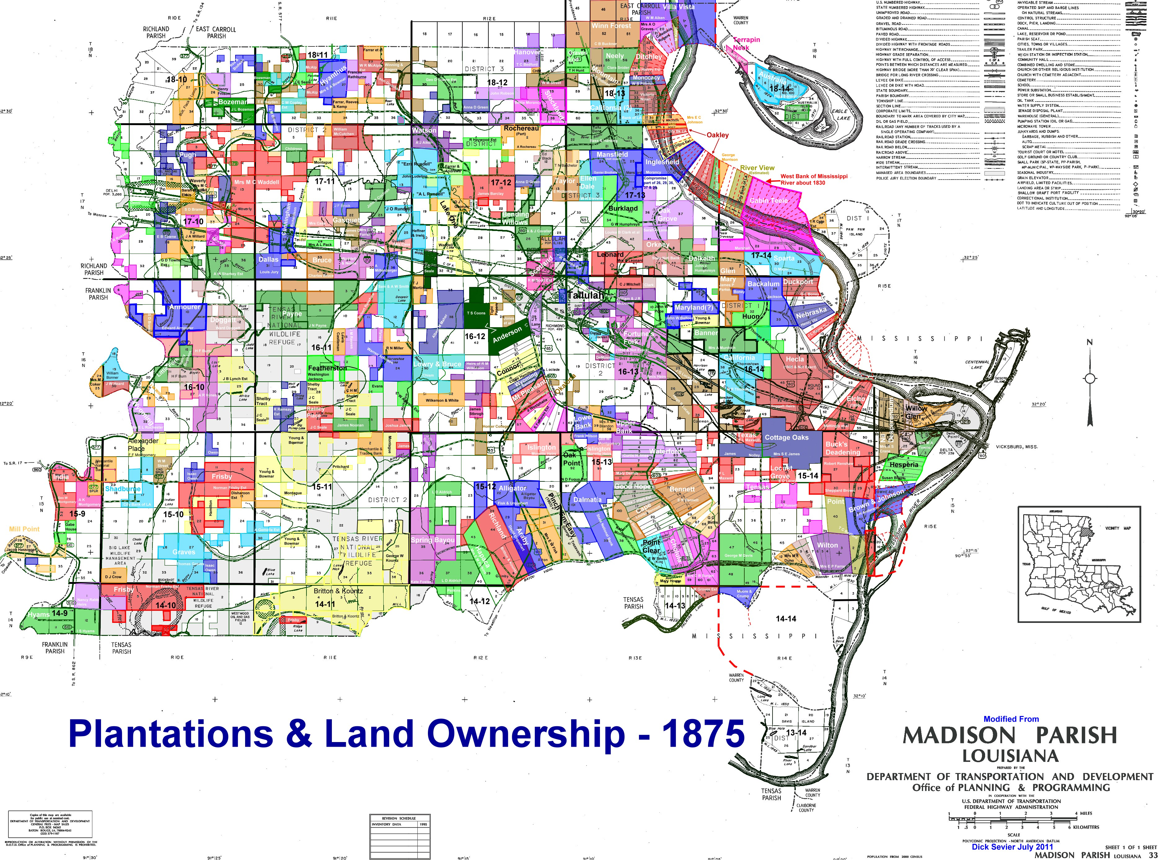 Map Of Louisiana Plantation Homes.Madison Parish Maps