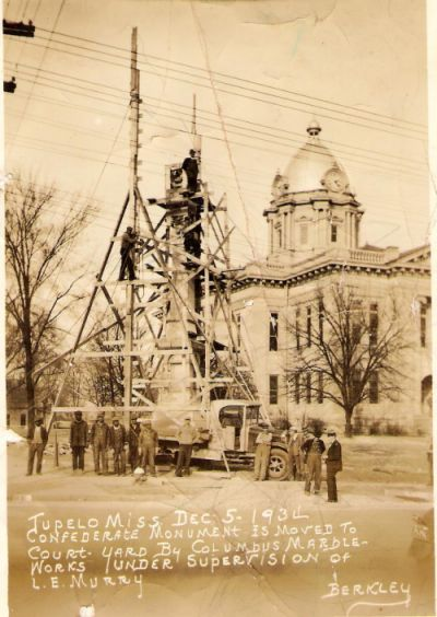 Moving of the Confederate Monument by Columbus Marble Works in 1931