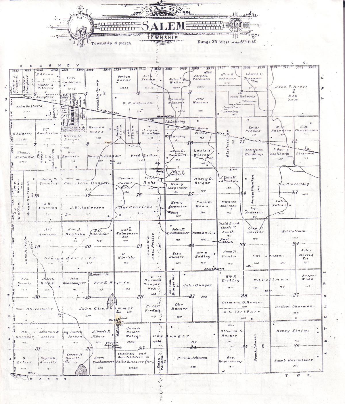 Nebraska Map By County.1905 Franklin County Nebraska Plat Map